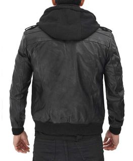 Terrence Black Hooded Leather Jacket