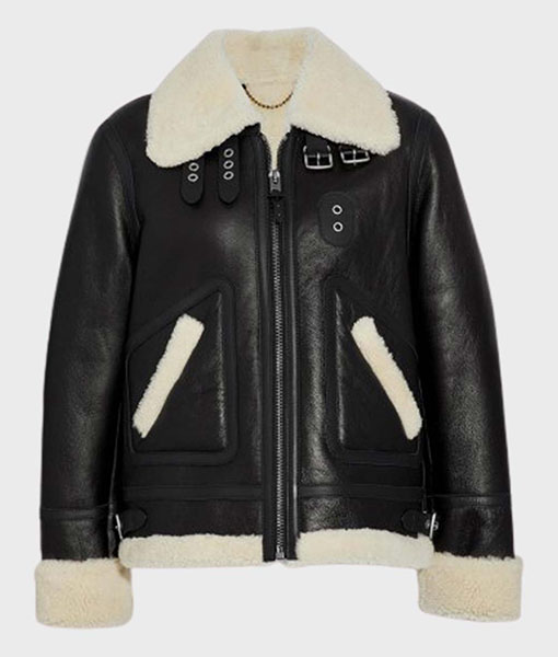 Womens Aviator Ivory Shearling Leather Jacket