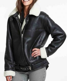 Women's Biker Style Black Leather Shearling Jacket with Fur Collar