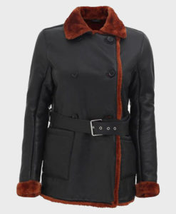 Womens Black Belted Shearling Double Breasted Leather Coat
