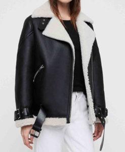 Women's Black Leather Belted Shearling Biker Jacket