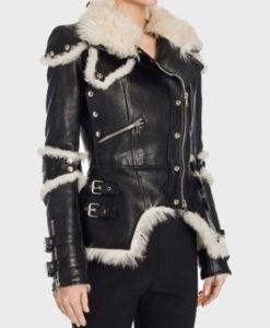 Womens Black Leather Shearling Biker Jacket