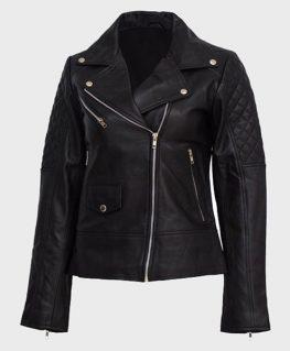Womens Black Quilted Shoulder Leather Jacket