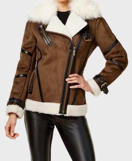 Womens Brown Faux Fur Asymmetrical Leather Jacket