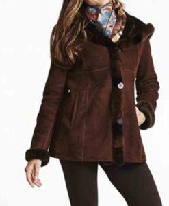 Women's Brown Suede Shearling Jacket with Hoodie