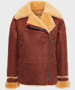 Womens Classic Brown Shearling Distressed Leather Jacket