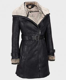 Womens Mid-Length Black Shearling Leather Coat