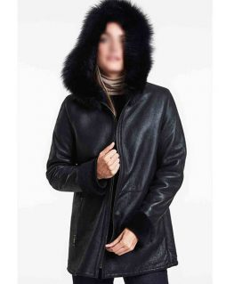 Women's Real Black Leather Shearling Jacket With Hoodie