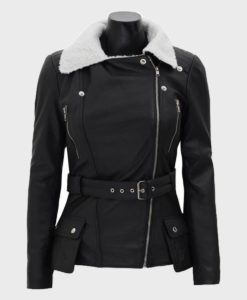 Womens Shearling Black Belted Asymmetrical Biker Leather Jacket
