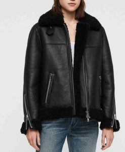 Women's Shearling Black Leather Bomber Jacket with Fur Collar