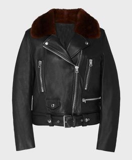 Womens Shearling Black Motorcycle Leather Jacket
