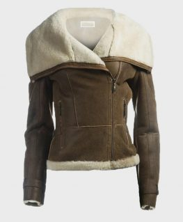 Womens Shearling Brown Leather Jacket