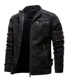 Men's Slim Fit Leather Cafe Racer Jacket