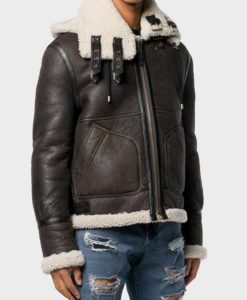 Mens Aviator Shearling Hooded Jacket