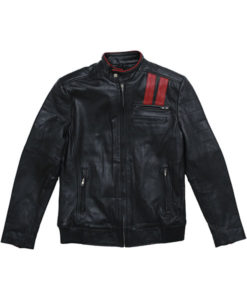 Men's Black Leather Racer Jacket
