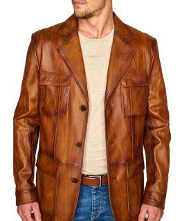 Men's Vintage Leather Blazer