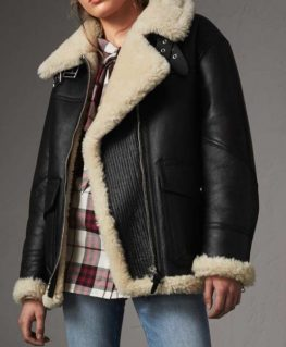 Zandra Black Aviator Jacket