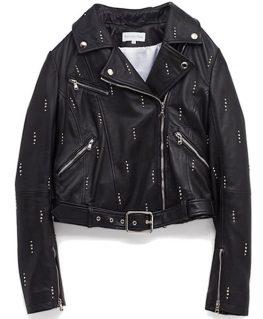 Dua Lipa Black Moto Studded Jacket