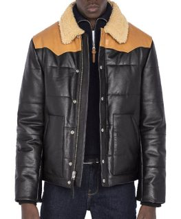 Mens Puffer Leather Jacket